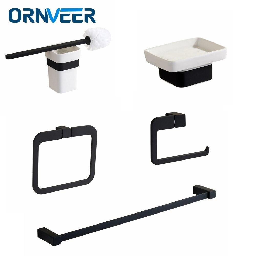 Livraison gratuite ensemble de matériel de bain de haute qualité peinture aux décombres noirs porte-serviettes porte-papier toilette porte-savon support de verre