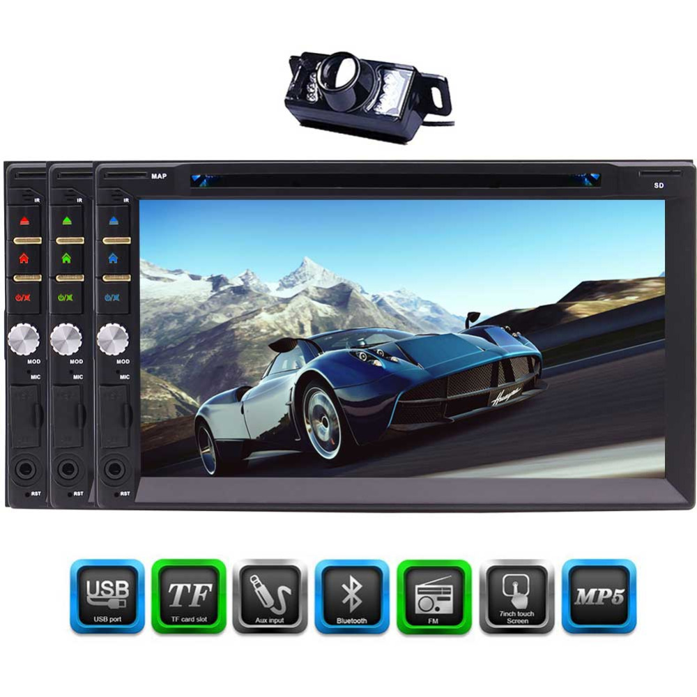 Eincar 7 Double Din Bluetooth Car DVD Player 1080P In Dash Car Stereo Radio Player USB AM/FM RDS Radio MP5 TF AUX Input SWC