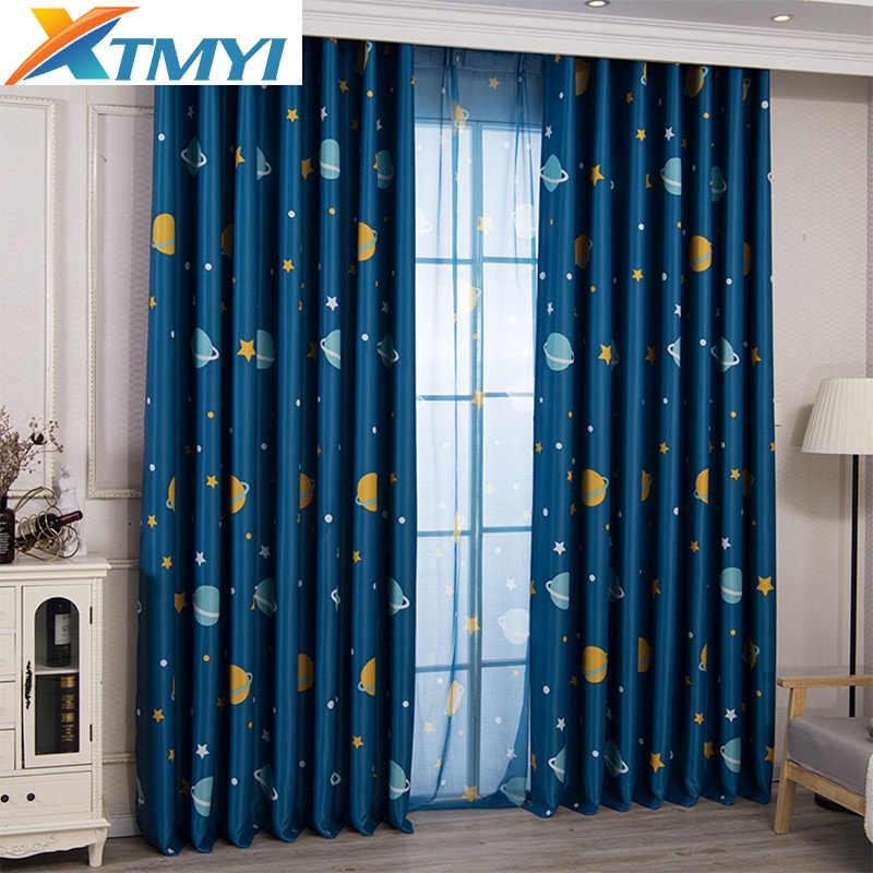 Cortinas de luna de dibujos animados para habitación de niños cortinas para  dormitorio de niños cortina de ventana de sala de estar para niños