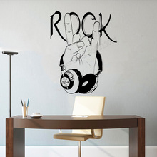 Art  Wall Sticker Rock Decoration Music Decor Headphones Home Poster Design Mural Removeable Vinyl Decal LY89