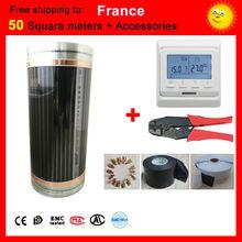 Francja Darmowa wysyłka 50 metrów Kwadratowych pod-film Ogrzewania podłogowego Z akcesoriami, AC220V far infrared ogrzewanie film