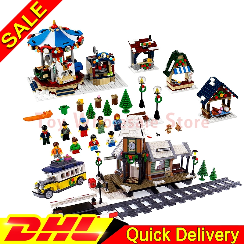 Lepin 36010 Winter Village Market + Lepin 36011 Winter Village Station Building Blocks Bricks Educational Toys Gift Clone 10235 lepin 36010 genuine creative series the winter village market set legoing 10235 building blocks bricks educational toys as gift