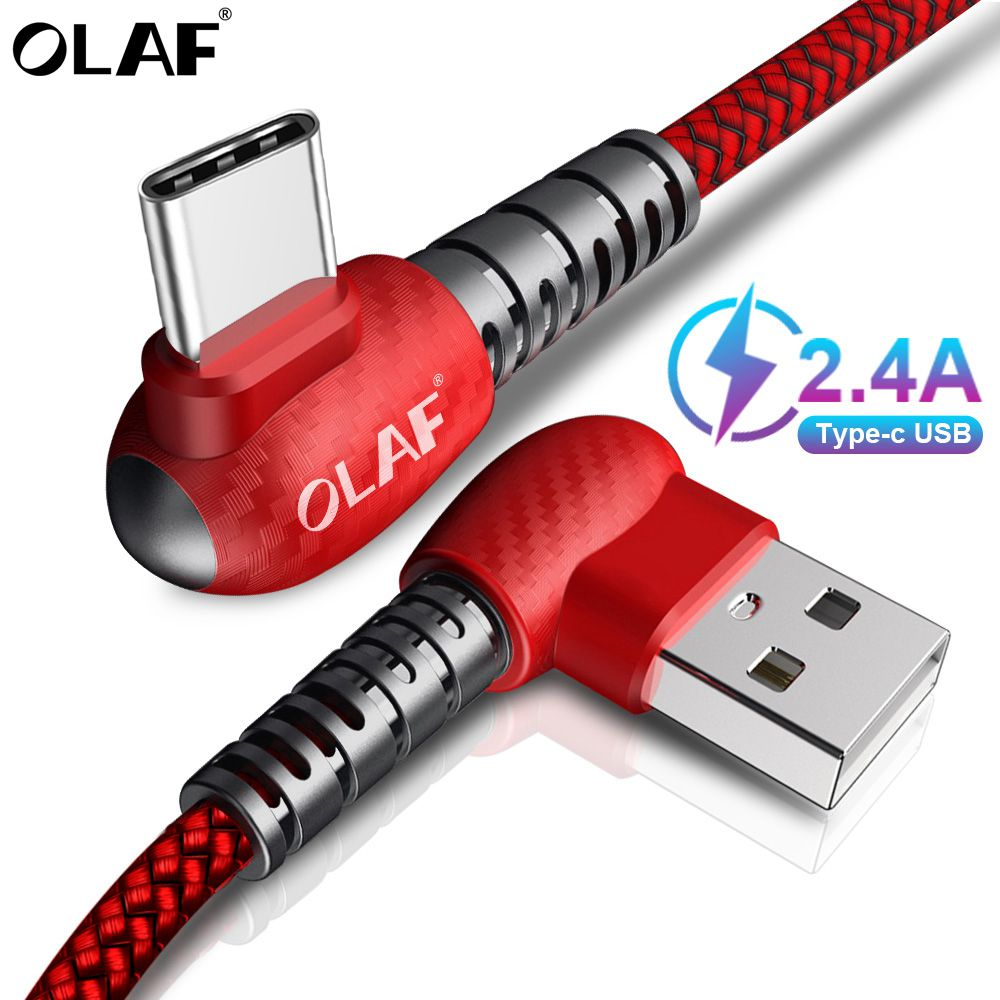 OLAF 90 Degree 2.4A USB Type C Cable For Huawei Mate20 Pro Samsung s9 Xiaomi Fast Charging USBC usb-c Type-c Charger Data Cable