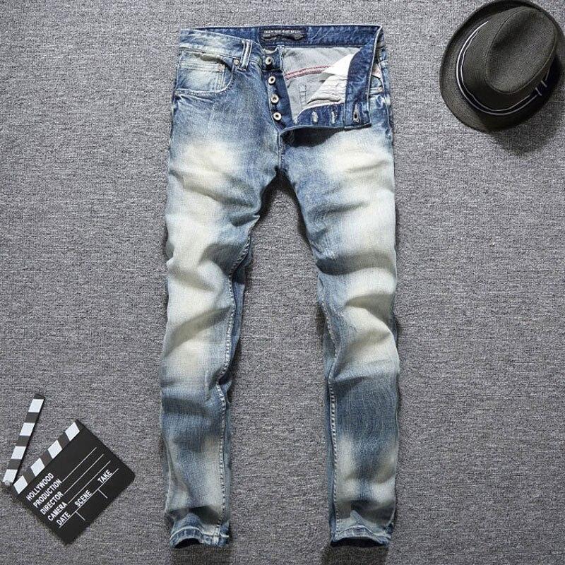Italian Vintage Style Fashion Men Jeans Light Blue Slim Fit Elastic Ripped Jeans Men Classical Denim Buttons Pants Hip Hop Jeans