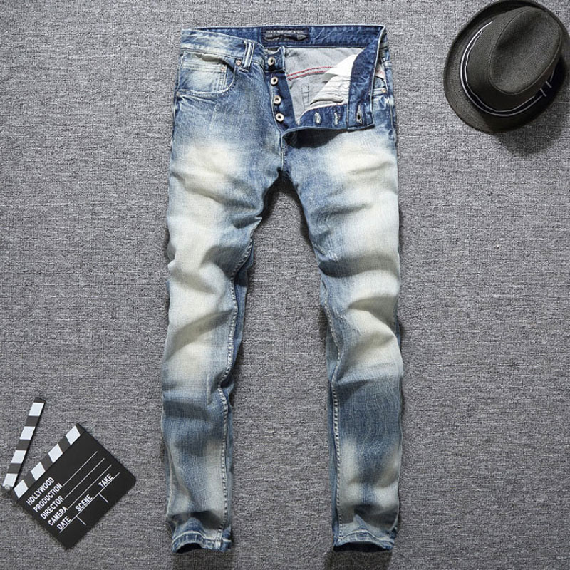 Italian Vintage Style Fashion Men Jeans Light Blue Slim Fit Elastic Ripped Jeans Men Classical Denim Buttons Pants Hip Hop Jeans