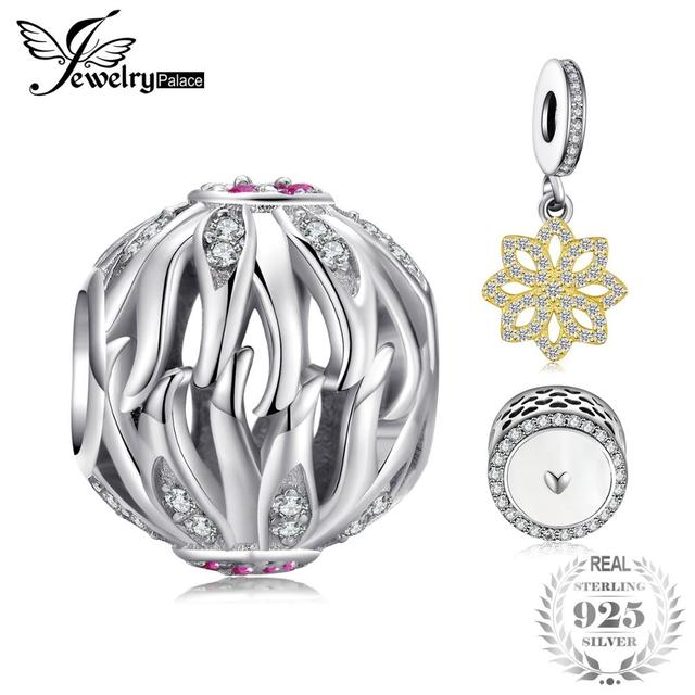 JewelryPalace Folha de Oliveira Criado Pink Sapphire Flor Bead 925 Sterling Silver Charm Bead Fit Pulseiras