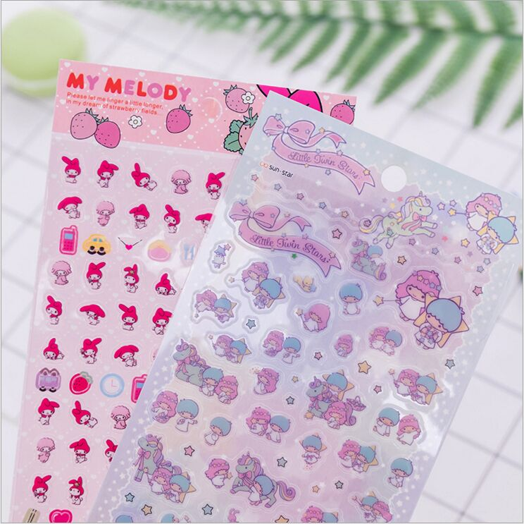 Lovely My Melody Little Twin Stars Decorative PVC Stickers DIY Planner Diary Scrapbook Index Phone Album Stickers Escolar