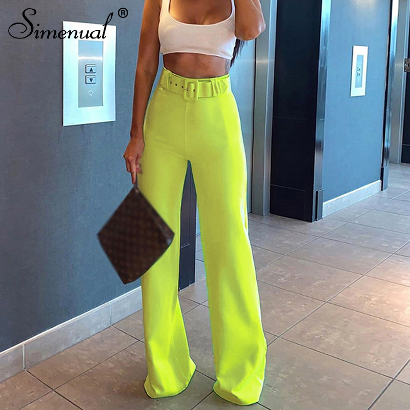 Simenual Neon Color Fashion Wide Leg Pants Women High Waist Sashes Slim Casual Long Trousers 2019 Autumn Ladies Straight Pants
