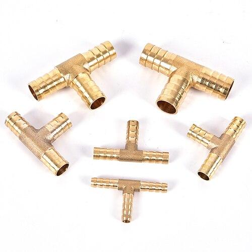 4 Piezas T-Forma De Latón 3 maneras Acoplador Adaptador de Montaje Manguera Conector 8mm de diámetro