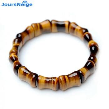d2bbc11dc531 Comercio al por mayor Genuino Amarillo Ojo de Tigre de Piedra Natural  Pulseras de la Suerte De Las Mujeres de Los Hombres de Bambú Fila Mano de  Las Pulseras ...