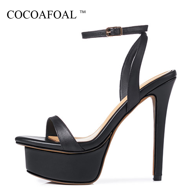 COCOAFOAL Women Black Sexy Heels Sandals Genuine Leather Fringe High Heels Shoes Fashion Open Toe Platform Gladiator Sandals 33 2018 fashion women pumps sexy open toe heels sandals woman sandals thick with women shoes high heels s144
