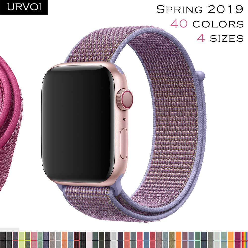 URVOI Sport loop for apple watch series 4 3 2 1 band reflective strap for iwatch double-layer woven nylon breathable 2019 New