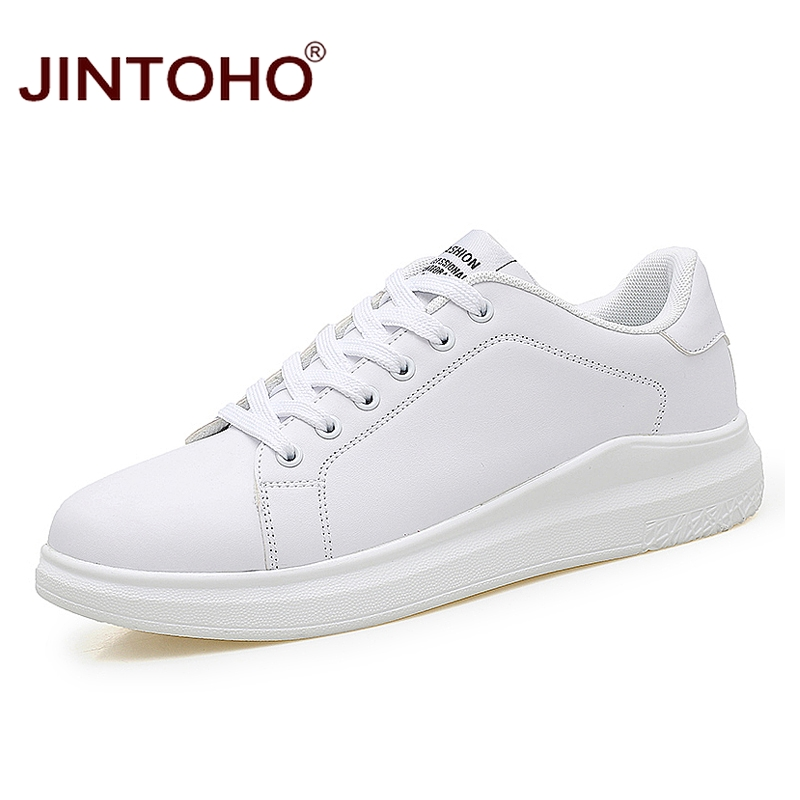 JINTOHO Big Size Fashion Brand Casual Men Leather Shoes White Male Casual Shoes Breathable White Sneakers Leather Mens Moccasins