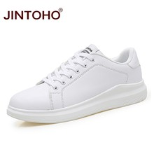 JINTOHO Big Size Fashion Brand Casual Men Leather Shoes White Male Casual Shoes Breathable White Sneakers Leather Mens Moccasins(China)