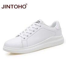 JINTOHO zapatos informales de piel para hombre, zapatillas transpirables de piel, color blanco, talla grande