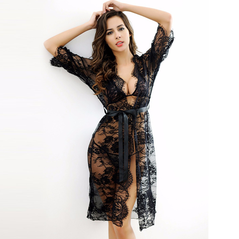 3 Pieces Nightgown Robe Set Black See Through Sheer Mesh Lace Robe Chemise Long Sleeve Sexy Robe Sleepwear RE80289