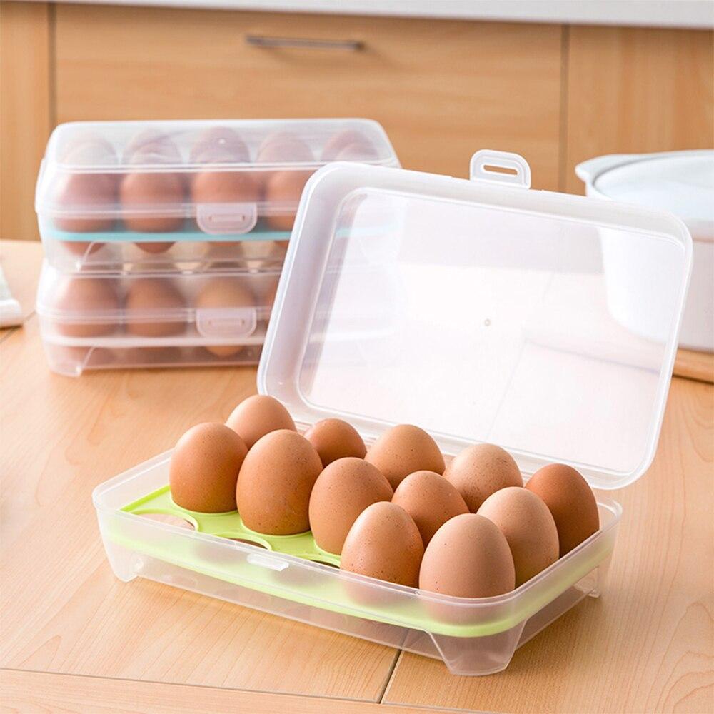 2 Layer Crisper Fresh Eggs Box Holder Case Refrigerator Food Storage Container
