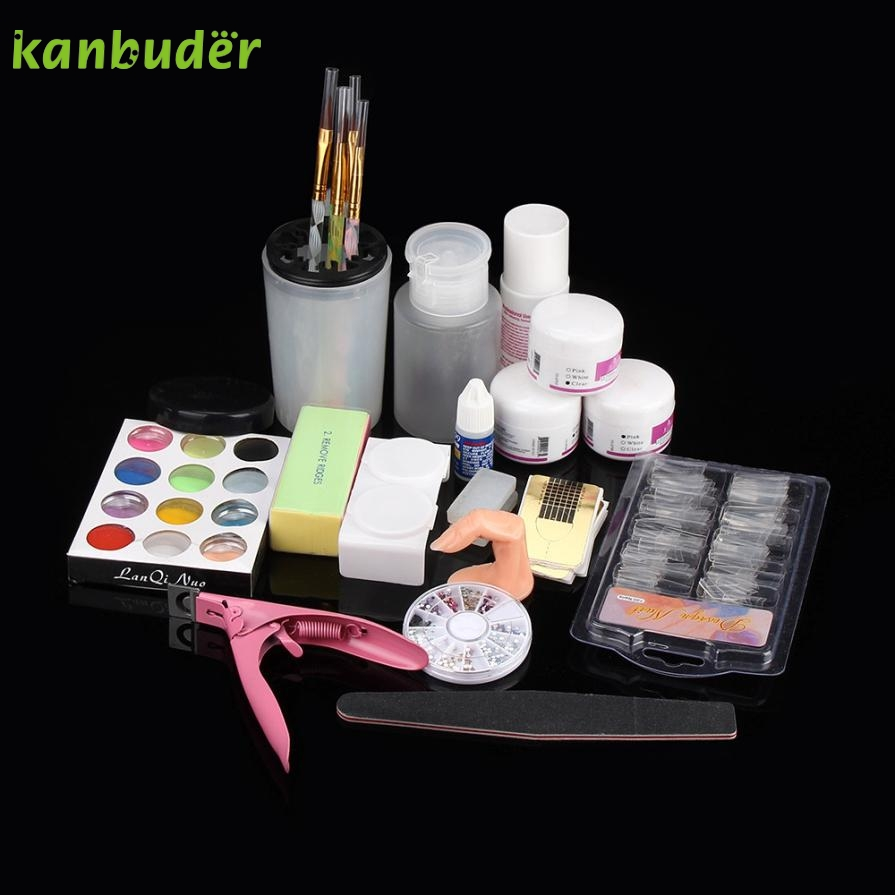 Cosmetic Dairy 19 in 1 Manicure Set Acrylic Nail Art Tips Powder Glitter Clipper Primer File False Nails  2017 o13 Free Shipping blingbling 6 color nail glitter glow in the dark acrylic powder fluorescent effect luminous powder phosphor for nail art design