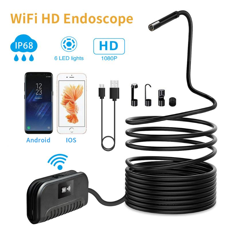5.5mm/8mm 1080P WIFI Endoscope Waterproof Borescope Inspection Snake Camera with LED Light For iPhone Samsung Huawei Android
