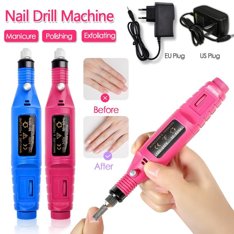 1set Power Professional Electric Manicure Machine Pen Pedicure Nail File Nail Tools 6 bits Drill Nail Drill Machine EU US Type