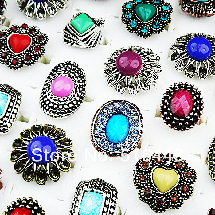 Charms 5pcs Mix Color Czech Rhiensotnes Antique Silver Plated Flower Round Vintage Womens Rings Wholesale Jewelry Lots A-260