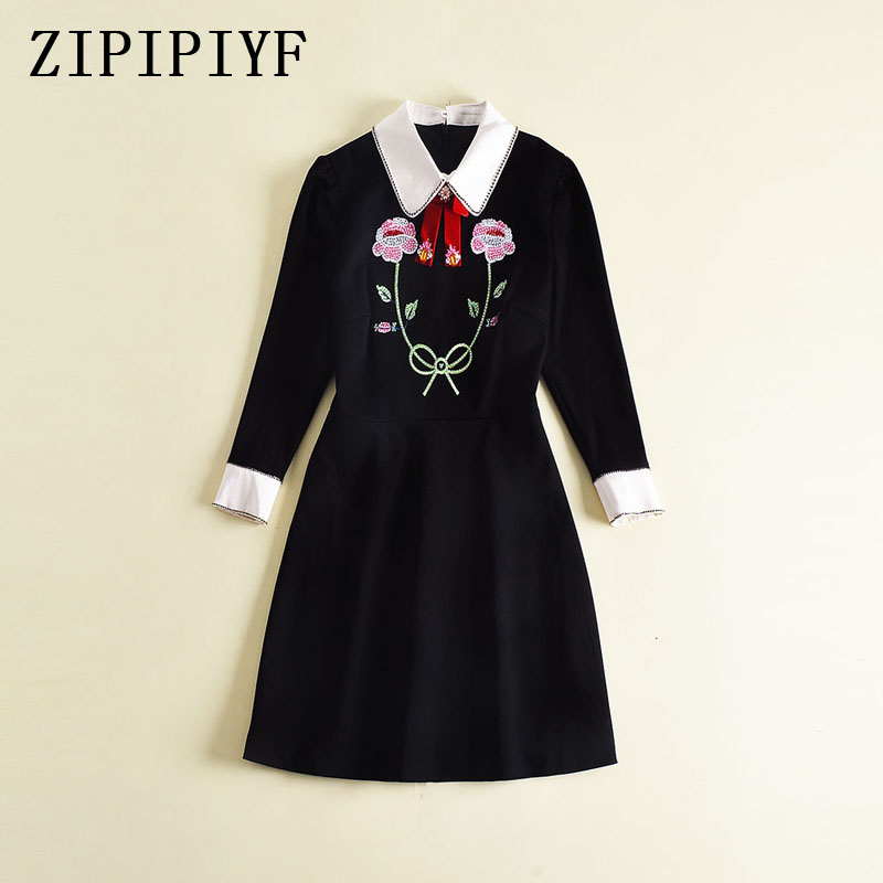 ZIPIPIYF Women Autumn Vintage Dress 2017 Bow Embroidery Black And White Stitching Bow Cultivate One's Morality mini Dress vintage bow waist bubble dress