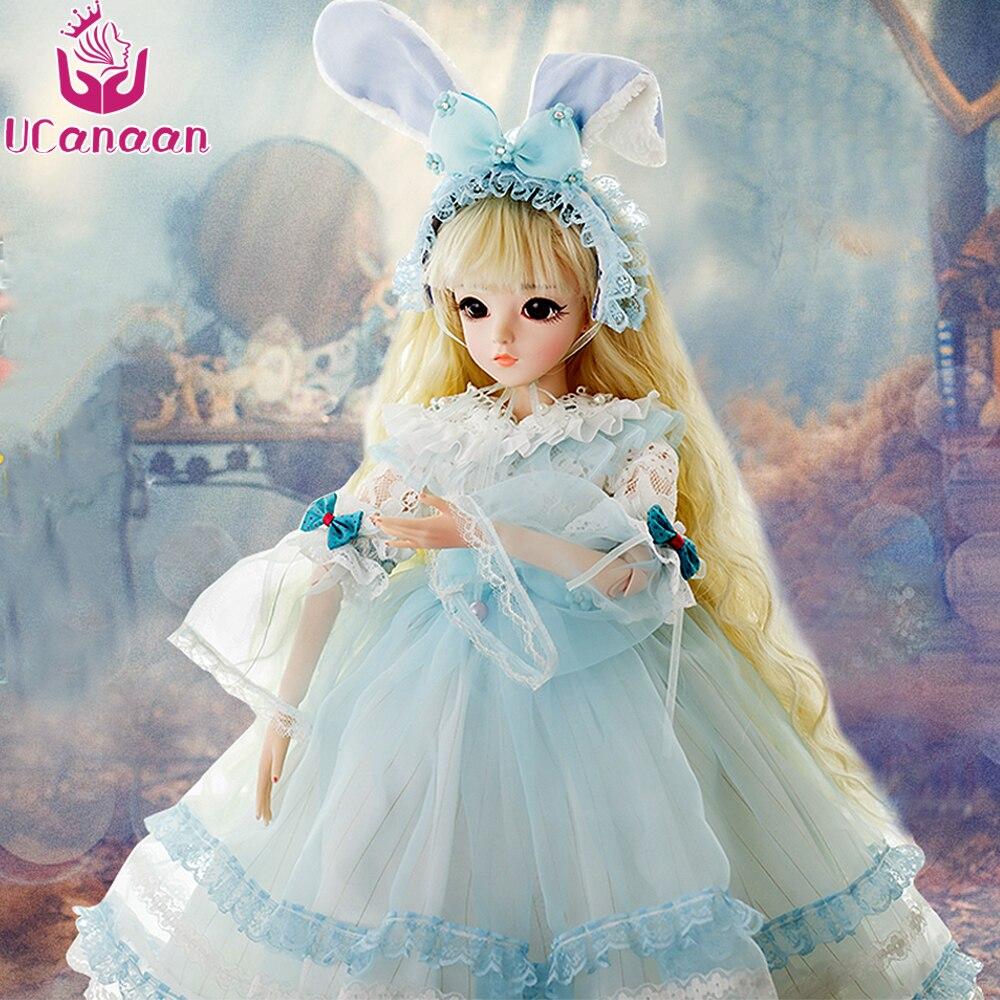 UCanaan 1/3 Bambole BJD Bambola SD Con Coniglio Outfit Vestito Elegante Parrucche Shose Trucco Bella Giocattoli per Le Ragazze Bambole 60 CM