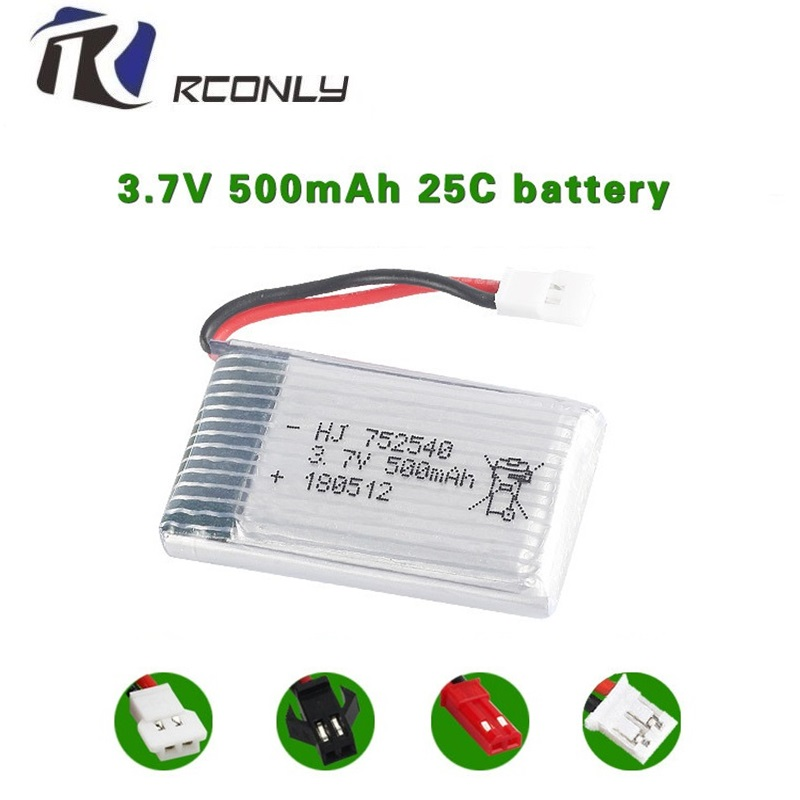 2PCS <font><b>3.7V</b></font> <font><b>500mAh</b></font> <font><b>Lipo</b></font> <font><b>Battery</b></font> For Syma X5C X5SW M68 Cheerson CX-30 H5C Quadrocopter 3.7 V Li-po <font><b>battery</b></font> <font><b>3.7v</b></font> <font><b>battery</b></font> 25c 752540 image