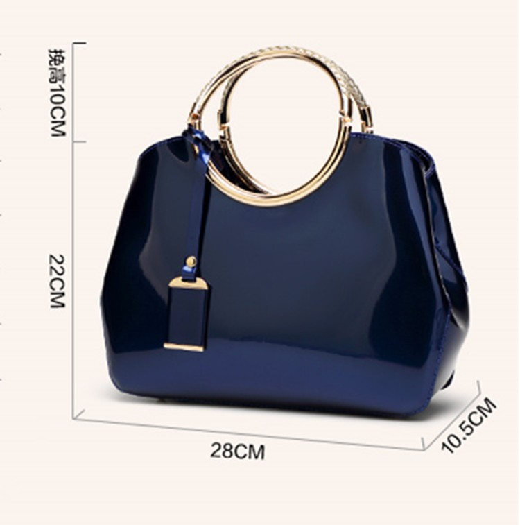 Promotion of new women's bags,Patent Leather Women Bag Ladies Cross Body Shoulder Bags Handbags Blue one size 21