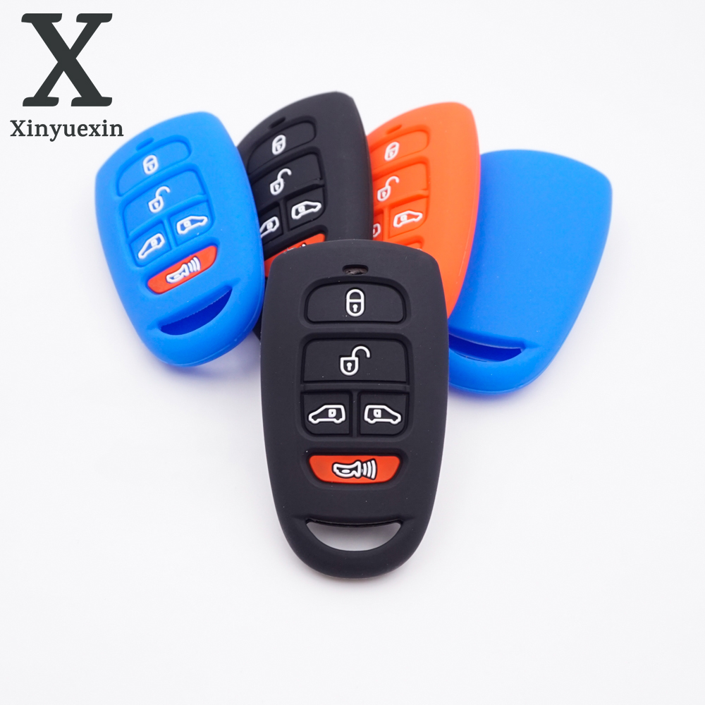 Xinyuexin  5 Button Silicone Rubber Car Key Shell Fob For Hyundai SantaFe For Kia Grand Carnival  Remote Car Key Cover
