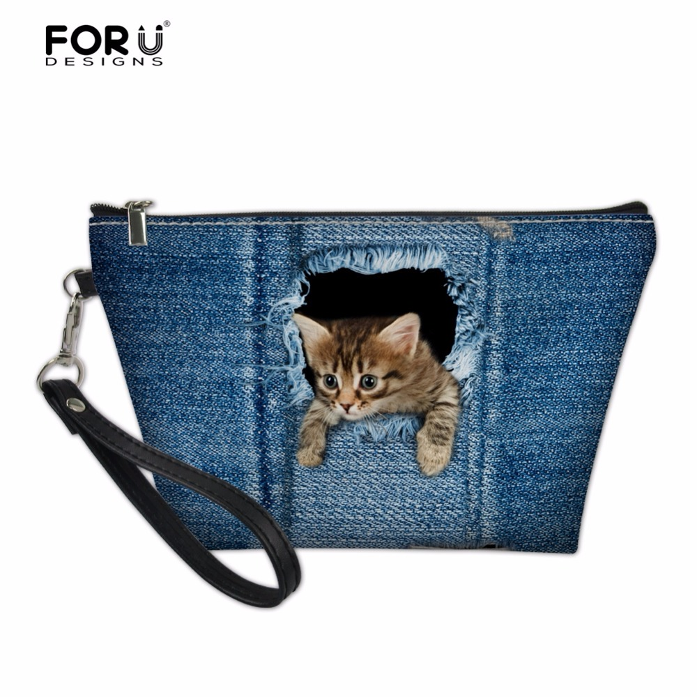 FORUDESIGNS 3D Denim Animal Cat Pattern Girls Cosmetic Bags Cute Dog Print Womens Travel Makeup Organizer Cosmetic Cases Pounch