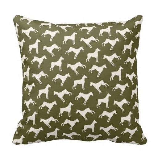 Colorful Doberman Pinscher Dog Pattern Olive Green Throw Pillow Case (Size: 45x45cm) Free Shipping