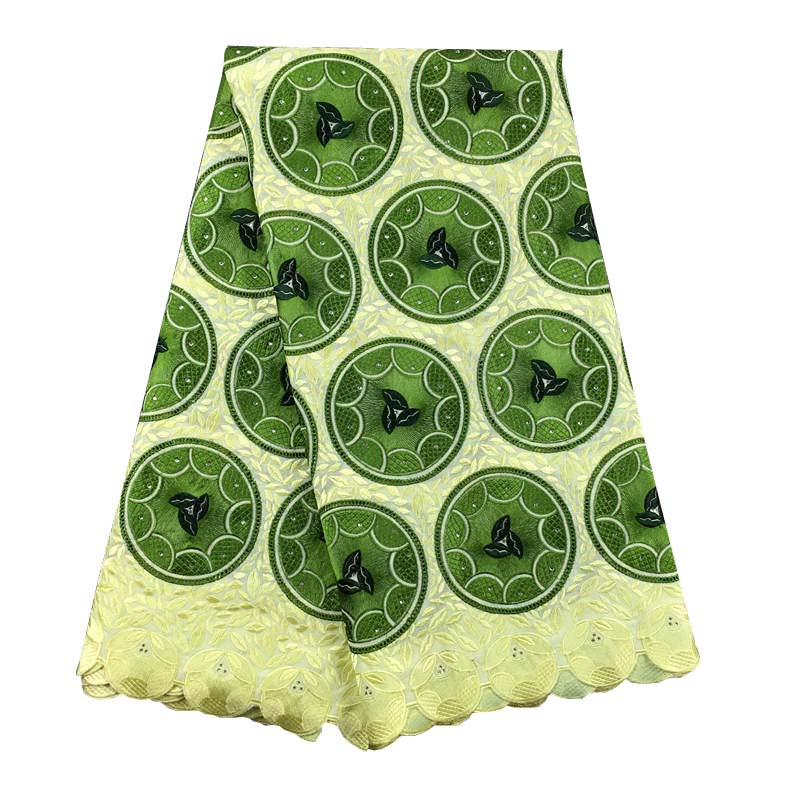 2019 Nigerian Lace Fabrics For Wedding Party 100 Cotton 052 Green African Swiss Voile Lace High