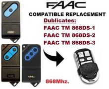FAAC TM 868DS-1, 868DS-2, 868DS-3 868Mhz. Garage Door/Gate Universal 4-Channel Remote Control Replacement Cloning/Duplicat