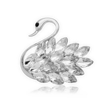4 Colors Cute Rhinestone and Crystal Swan Brooches for Women Elegant Noble Animal Pins Fashion Jewelry 2019