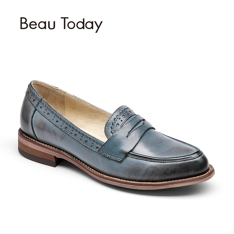 BeauToday Penny Loafer Women Sheepskin Moccasin Genuine Leather Slip On Pointed Toe Flats Casual Dress Shoes Handmade 27013 branded men s penny loafes casual men s full grain leather emboss crocodile boat shoes slip on breathable moccasin driving shoes