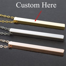 Customize Your Letters Text Stainless Steel Bar Necklace Custom Personalized Name Gold Chain Pendant Christmas Gifts