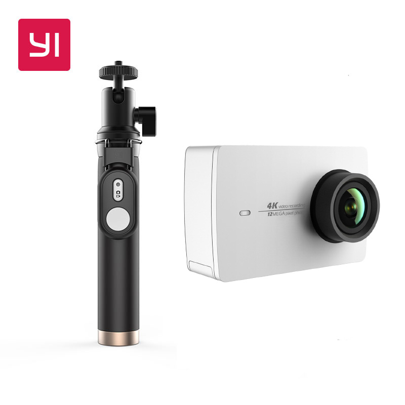 Yi 4k Action Camera With Bluetooth Selfie Stick Kit Support Live Streaming White