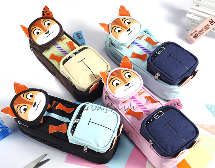 Creative animal fox School Large Pencil Case canvas Portable Pencil Case Gift Stationery Office Supplies color random with lock 1pc cute animal dinosaur pencil case canvas pencil bag pen box stationery school supplies multilayer gift random with lock