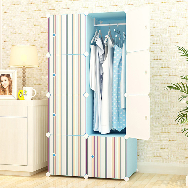 Wardrobe Bedroom Furniture Home Plastic Steel Storage Cabinet Clothes Rack Embly Closet Multi Size