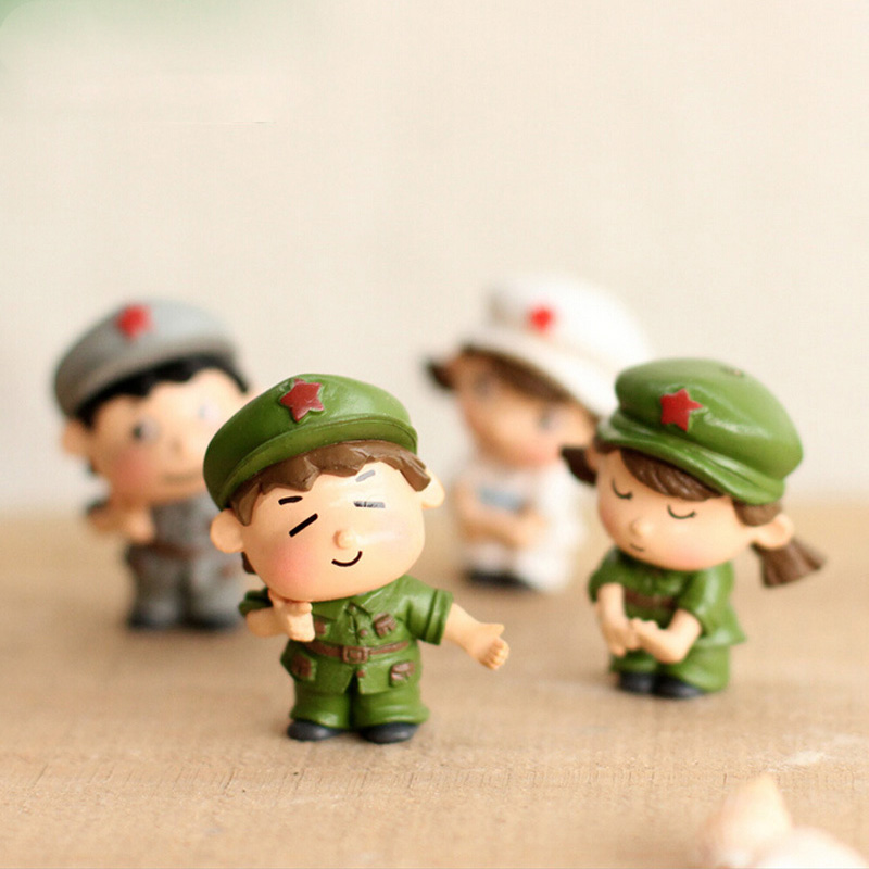 Soldier Lover Figures Diy Toy Girl Boy Miniature Wedding Decoration Movie Character Birthday Cake Play House Doll Baby Gift Action & Toy Figures