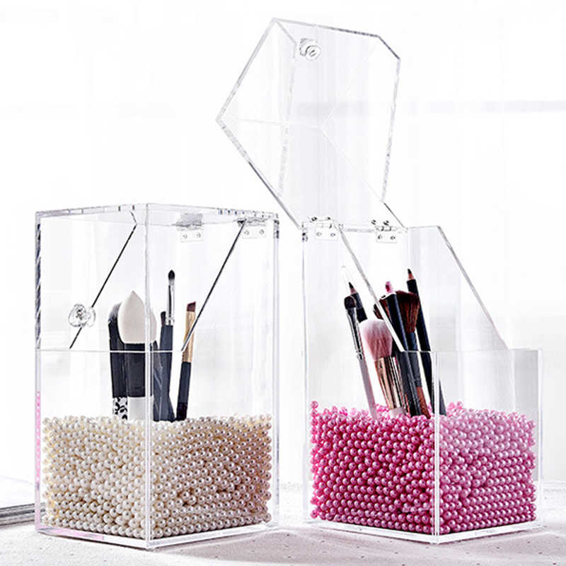 Plastic Makeup Brush Holder Dustproof Storage Box Makeup Organizer Rangement Maquillage Pencil Holder Lipstick Organizer Case