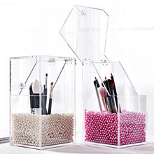 Plastik Makeup Brush Holder Tahan Debu Kotak Penyimpanan Makeup Organizer Rangement Maquillage Pensil Pemegang Lipstik Organizer Kasus(China)