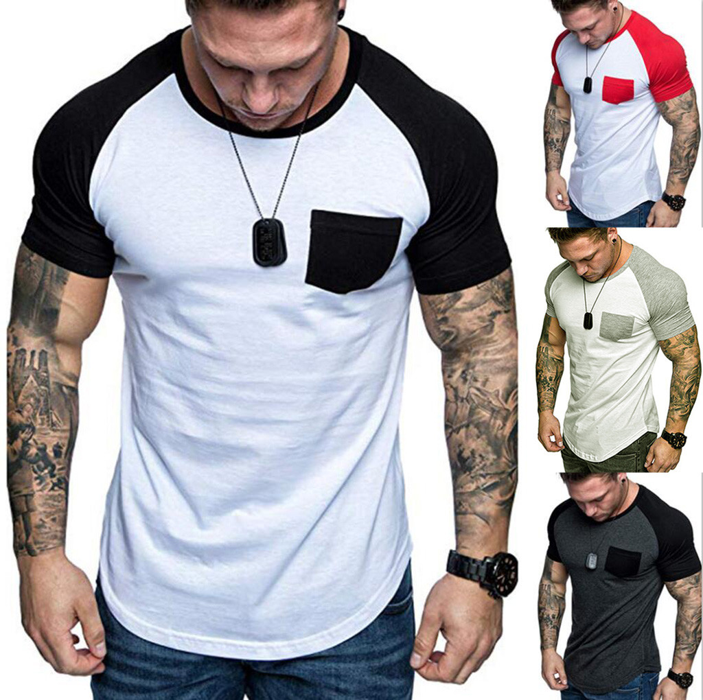 T Shirt Men Spring Summer Slim Fit Raglan Patchwork Pocket Short Sleeve Pattern Cotton Casual Tshirt Sport Tops Men Clothes 2019