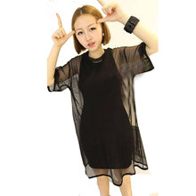 2017 Sexy Women Black Sheer Perspective Mesh Half Sleeve Shirt Oversize Tops Blouse(China)