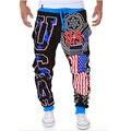 2016 3d impresso EUA Corredores Homens calças harem pants casuais plus size homens gota gancho sweatpants baggy trousers hip pop sportswear