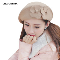Women Winter Beret Hat Wool Bowknot Solid 4 Colors 56 58cm Formal Style Adult Ladies Artist Cap Autumn New Fashion SMT A028