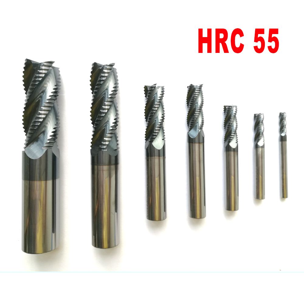 4mm 6mm 8mm 10mm 12mm  4 Flutes HRC55 Roughing End Mill Spiral Bit Milling Tools CNC Endmills Router Bits