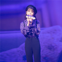 Li Zhi en Same Purple Horn Sleeves Korean Version Manicured Shirt 2019 Turn down Collar Flare Sleeve Women Shirts Blouse