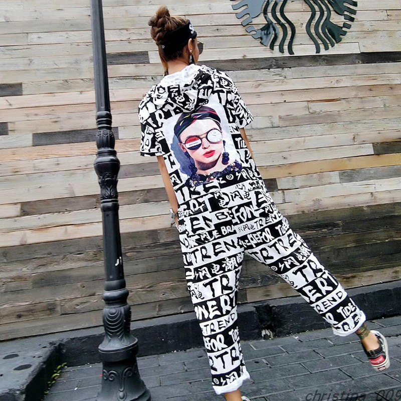 summer Women High Street Letter Printed Ankle-Length Pants Hip Hop Design Short Sleeve Jumpsuit Hooded One Piece Overalls shein